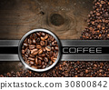 Wood and Metal Background with Coffee Beans 30800842