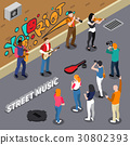 Street Musicians Isometric Illustration 30802393