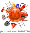 Vector Fire Prevention Concept with Helmet 30802786