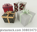 Wrapped gifts for holidays with ribbons 30803473