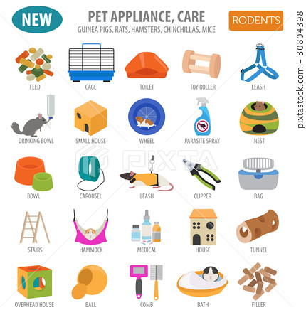 Pet rodents appliance icon set flat  30804398