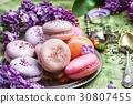 dessert of french macaroons 30807455