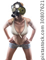 Young slim woman in gas mask 30807621