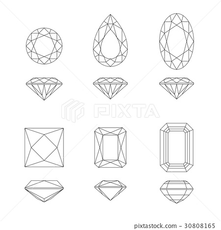 Diamond and gemstone shapes. 30808165