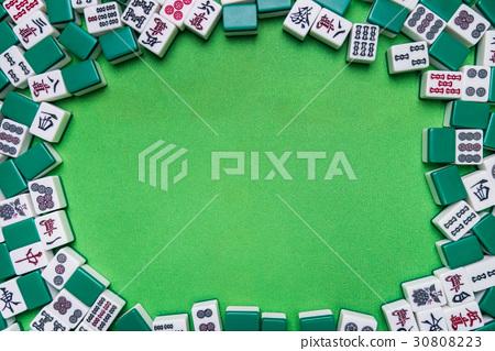 Mahjong tiles on Green background 30808223