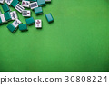 Mahjong tiles on Green background 30808224