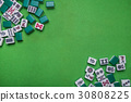 Mahjong tiles on Green background 30808225