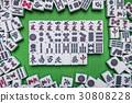 Mahjong tiles on Green background 30808228