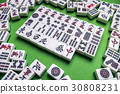 Mahjong tiles on Green background 30808231