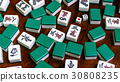 Mahjong tiles on darkwood table background 30808235