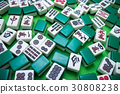 Mahjong tiles on Green background 30808238
