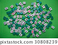 Mahjong tiles on Green background 30808239