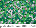 Mahjong tiles on Green background 30808240
