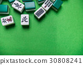 Mahjong tiles on Green background 30808241