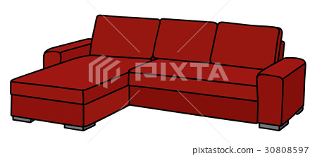 Big dark red sofa - Stock Illustration [30808597] - PIXTA