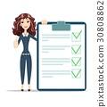 businesswoman with checklist. 30808862