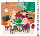 Hong Kong people playing Mahjong game in home 30813661