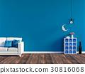 Modern blue living room interior  30816068