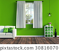 Modern green living room interior with white sofa  30816070