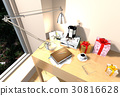 Pile of books and table lamp on wood table 30816628