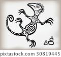 Fun decorative lizard ornament in an old ethnic 30819445