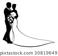 Bride and Groom Silhouette Wedding Concept 30819649