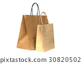 Recycled brown paper shopping bags isolated  30820502