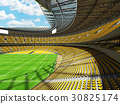 Beautiful modern rugby stadium with  yellow seats 30825174