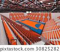 Beautiful arena for handball with orange seats 30825282