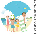 和家人一起在海灘游泳 30829769