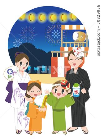 yukata, summer festival, family 30829956