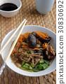 Shiitake, soba, and tofu soup 30830692