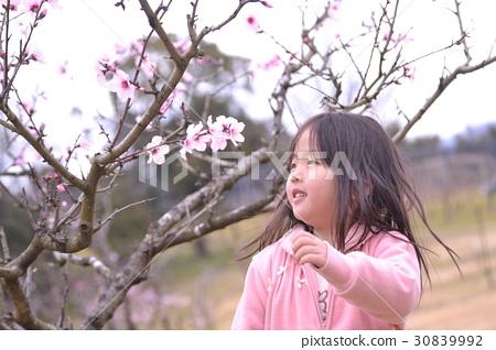 여자 유아 공원 놀이 아몬드 꽃 30839992
