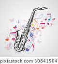 Music notes and saxophone 30841504