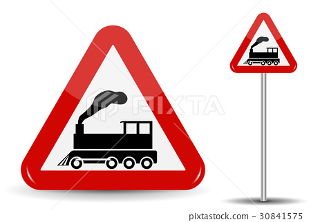 Road sign Warning Railway crossing without barrier 30841575