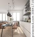 minimal wood scandinavian kitchen with lamp 30841710