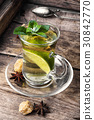 Herbal tea.Tea with mint and lemon 30842770