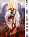 Archangel fighting with demons in hell. 30844729