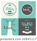 Happy Father Day Family Holiday, Retro Greeting 30845117