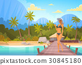 Woman In Bikini On Beach Over Bungalow House, Sexy 30845180