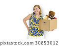Woman Studio Portriat Casual Carrying a Box Isolated 30853012