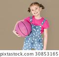 Little Girl Smiling Happiness Basketball Sport Portrait 30853165