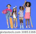 Children Girlfriends Smiling Happiness Friendship Togetherness Studio Portrait 30853366