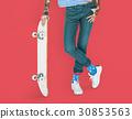 Tattoo Skater Holding Skateboard Extreme Sport Style 30853563