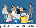 Diverse Group Of Kids Recycling Garbage 30854060