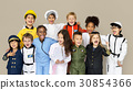 Group of Diverse Kids Wearing Career Costume Studio Portrait 30854366