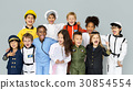Group of Diverse Kids Wearing Career Costume Studio Portrait 30854554