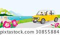 在海邊駕駛汽車家庭沒有 30855884