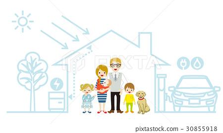 에코 주택 가족 백인 30855918