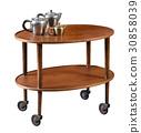 Oval mahogany serving cart on wheels 30858039